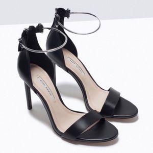 Zara Metal Ankle Cuff Leather Heels Pumps Minimal